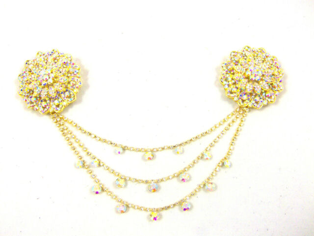 DIAMANTE DOUBLE CHAIN BROOCH HIJAB SCARF HEAD HIJAB JEWELLERY BRIDAL JEWELLERY