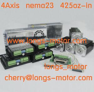 4axis-Nema23-stepper-motor-425oz-4-2A-4wires-CNC-Router-2PCS-POWER-New
