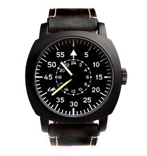 CUSTOM Aviator Pilot Black 45mm Military Army Vintage Steel Boat Watch Sub TW U