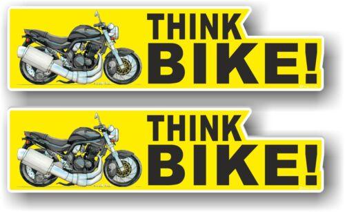 2pcs Motorcycle THINK BIKE Slogan /& Koolart Bandit Sports bike image car sticker
