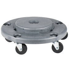 Janitorial Gray Plastic Trash Can Round Drum Dolly With 5 Casters