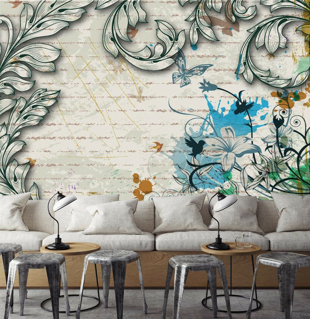 3D Leaves Painted 87 Wallpaper Mural Paper Wall Print Wallpaper Murals UK
