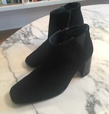 """NWT VERY CHIC Jeffrey Campbell Black SUEDE Ankle Boot 3"""" Block Heel Sz 8"""