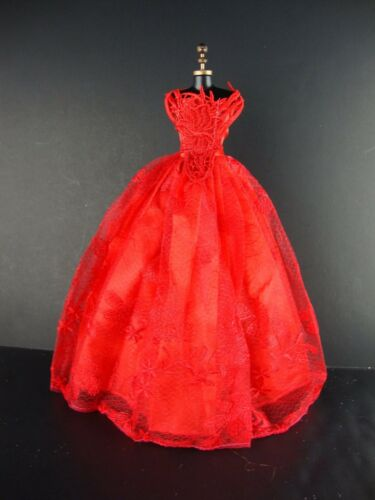 Amazing Red Ball Gown with Fanciful Bodice Made to Fit Barbie Doll