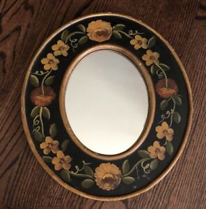 Hand-painted-Tole-Rose-Wooden-16-Oval-WALL-Decor-MIRROR-Gold-Black-Green