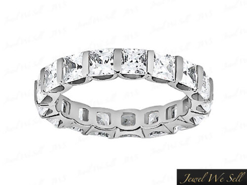 Real 4.35Ct Princess Diamond UProng Eternity Band Ring 14k White Gold I SI2