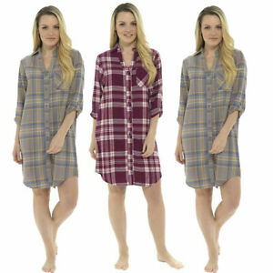 Womens-Ladies-Brushed-Cotton-Traditional-Check-Button-Nightshirt-Nightie