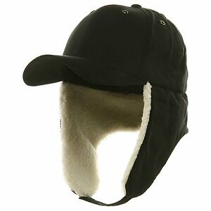 Details about Black Fitted Ear Flap Hunting Trooper Trapper Winter Baseball  Hat Cap S M   L XL 30c77e72ae4