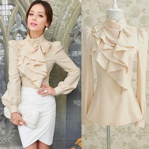 ea3389f1f58 Hot Women s Victorian Ruffle Collar Blouse Puff Sleeve Silky ...