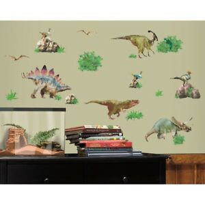 25 New DINOSAURS WALL DECALS T-Rex Triceratop Dinosaur Stickers Boys Room Decor