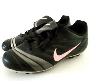Nike-Girls-Youth-Cleats-Size-1-5-Y-Black-Pink-Gray-Lace-Up-Soccer