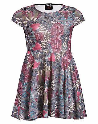 Ruby's Closet BEIGE Cap Sleeve Floral Print Skater Dress - Plus Size 16 to 26