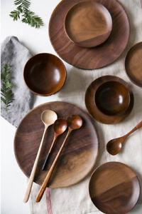 5-9-034-7-8-034-9-8-034-Plates-Black-Walnut-100-Wooden-Tableware-Beech-Wood-Dish