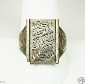Vintage Mens Mans 925 Sterling Silver Korea Poison Ring