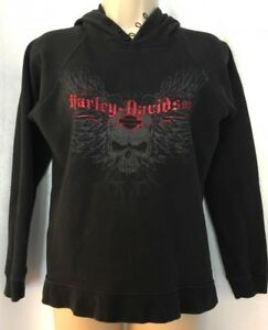 Harley-Davidson SMALL Pullover Fleece Hoodie Jacket Skull Wings Graphics Buttons