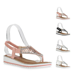 Damen Sandaletten Zehentrenner Strass Keilabsatz Sommer Schuhe 822152 New Look