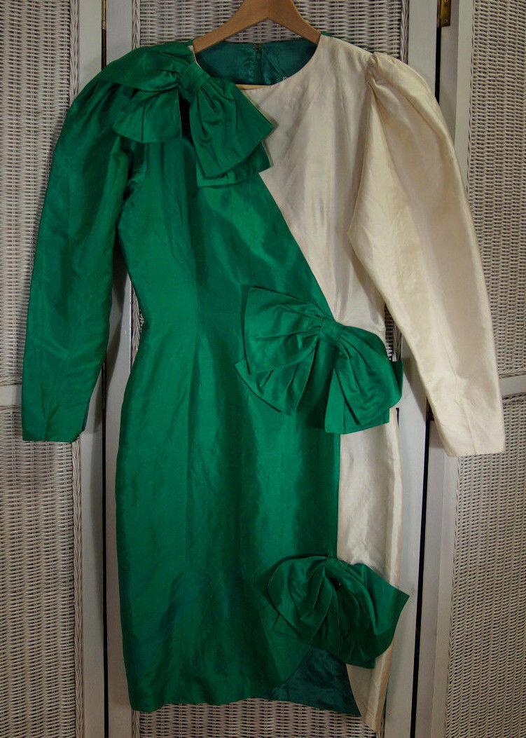 "Christina stambolian vintage 1980 S Vert Soie Ivoire robe S-M 36"" buste biCouleure"