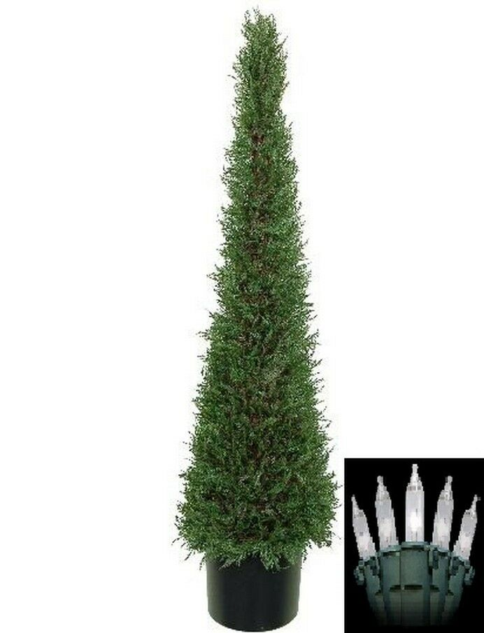 4' Artificial Cypress Topiary Christmas Tree Potted Indoor Outdoor W  Lights