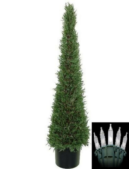 4 Artificial Cypress Topiary Christmas Tree Potted Indoor Outdoor W Lights