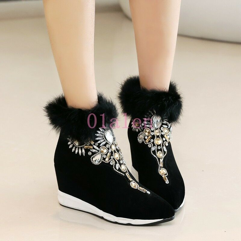 YI Womens High Wedge Heel Trim Fur Trim Heel Rhinestone Bling Bling Pointy Toe Ankle Boots e222bc
