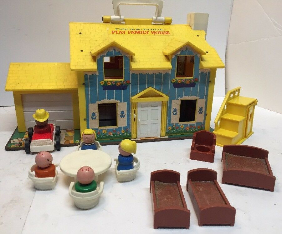 Vintage Vintage Vintage 1969 Fisher Price Little People Play Family Yellow House USA 72a33e