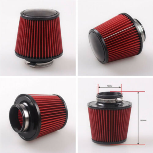1x K/&N Cold Air Filter Intake Induction Kit Cone Shape 76mm 3/'/' Inch Unive Red