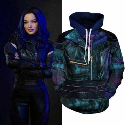 Descendants 3 Mal Hoodie Cosplay Costume Zip Sweatshirt Unisex Pullover Coat Top