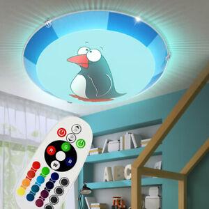 Details Zu Led Kinderzimmer Lampe Pinguin Rgb Mit Fernbedienung Wand Decken Leuchte Dimmbar