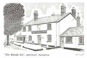 Art-Sketch-Postcard-The-Plough-Inn-Grateley-Hampshire-by-Don-Vincent-AS1