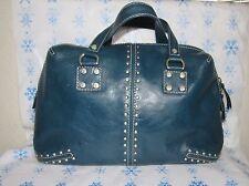 Michael Kors Astor Studded Blue Leather  Satchel Handbag Silver Toned Hardware