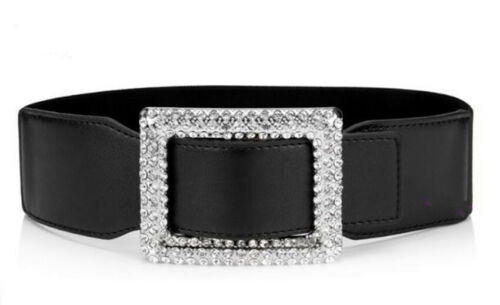 Wide Retro Crystal Buckle Women Faux Leather Long Waist Dress Waistband Belt UK