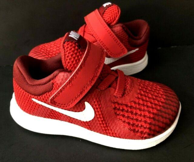 Baby Boys Size 6 Sneakers RED NIKE REVOLUTION 4 943304 Hook Loop Shoes EUR 22