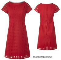 BN WHITE STUFF RED BRODERIE ANGLAISE PARADISE SUMMER SHIFT TUNIC DRESS SIZE 8-18