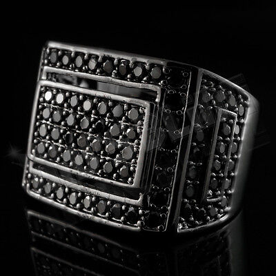18K Black Gold Iced Out Hip Hop Championship Band Bling MICROPAVE CZ Pinky Ring