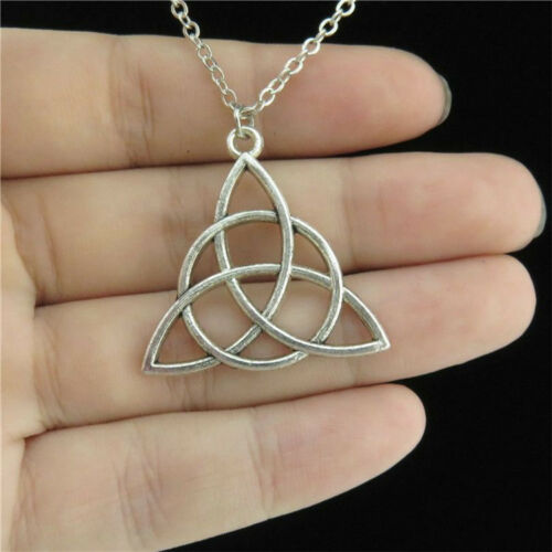 "14-4 18/"" Silver Chain Collar Choker Necklace Round Triquetra Triskele Pendant"