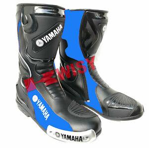 Yamaha Motorbike Leather Boots Riding Leather Motorcycle Shoes Black & Blue