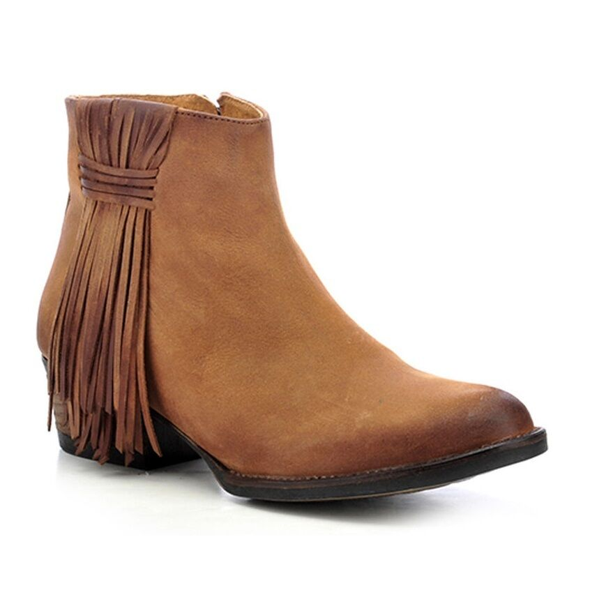 Circle G by Corral Ladies Tan Side Fringe Bootie Q0007
