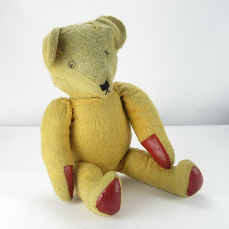 Antique 26-inch English Handsewn Handsewn Handsewn Straw-Stuffed Semi Articulated Blond Teddy Bear 388454