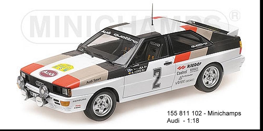 MINICHAMPS 155811102-Audi Quattro Winner Rallye Suède 1981 Mikkola-Hertz 1