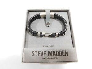 STEVE-MADDEN-STAINLESS-STEEL-BRAIDED-BLACK-LEATHER-BRACELET-WRISTBAND-HOOK-CUFF