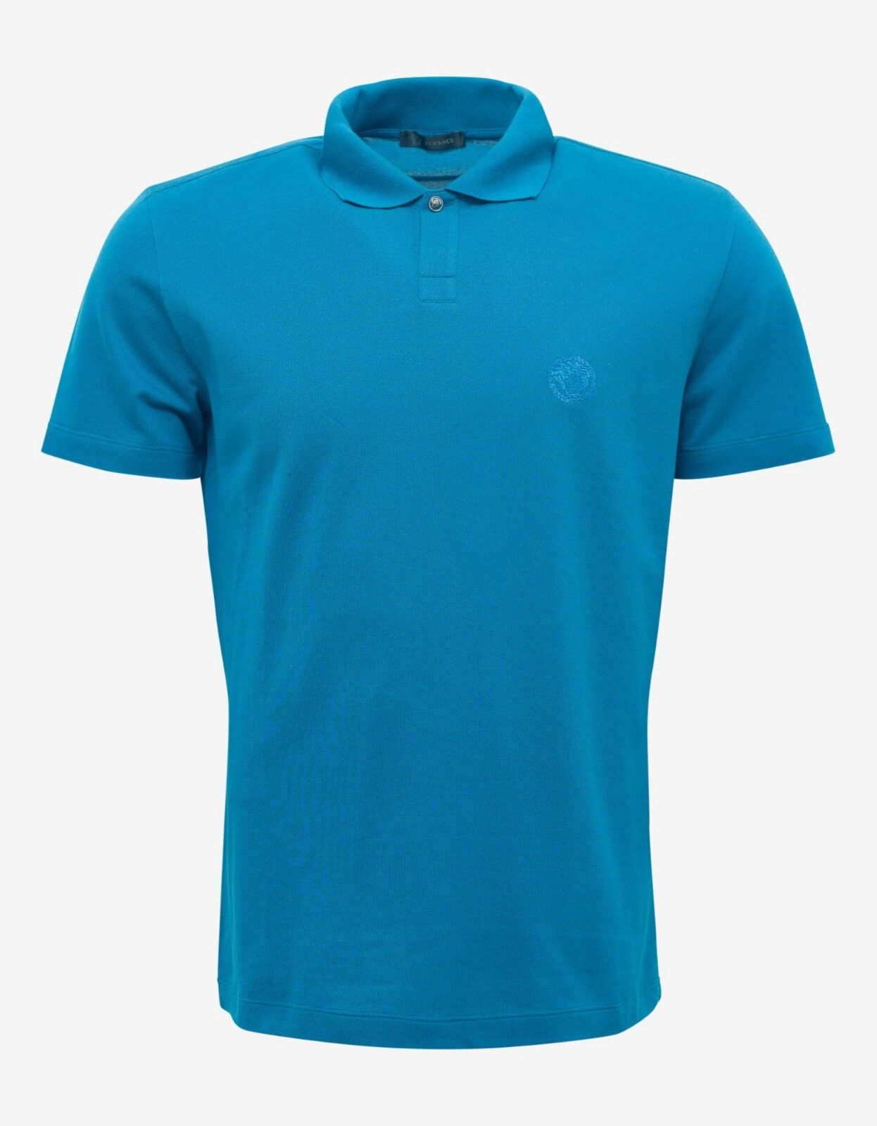 New VERSACE Teal Blue Medusa Crest Polo T-Shirt BNWT RRP £340