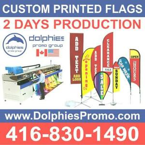 Marketing Event Advertising Custom Teardrop or Feather Flag + Double-Sided Graphics + Cross Base + FLAGS Traveling Bag Toronto (GTA) Preview