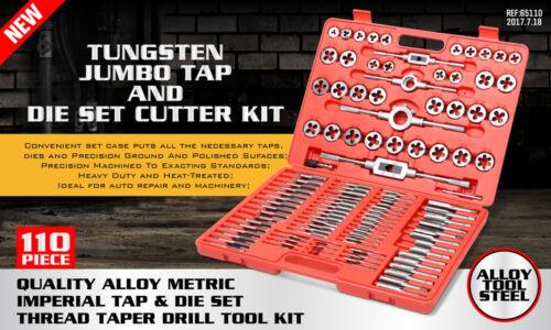 Tap Et Die Set 110 pièces métriques avec étui vis extracteur Remover Chasing nouveau