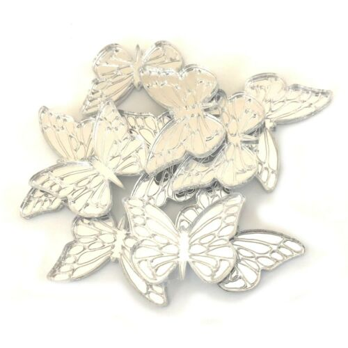 Set of 10 Butterfly Etched Shaped Crafting Mirrors Many Colours Shatterproof