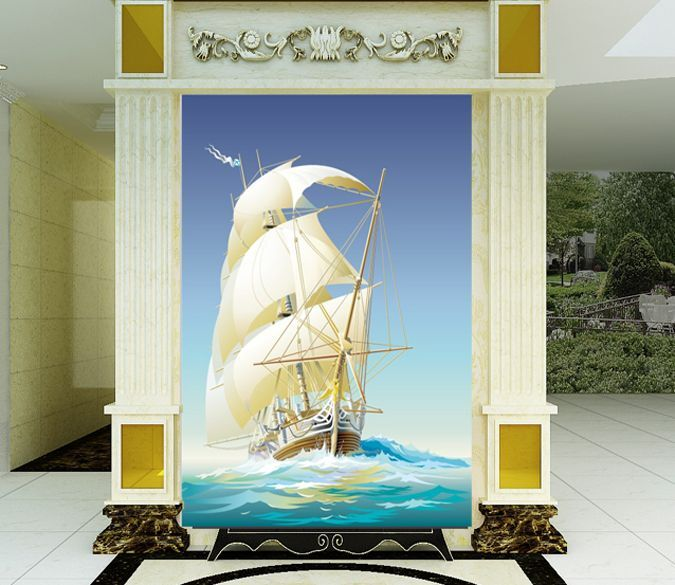 3D Boat waves painting 0312 Wall Paper Wall Print Decal Wall Deco AJ WALLPAPER