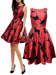 QUIZ-LADIES-BLACK-RED-JACQUARD-FLORAL-SUMMER-PARTY-PROM-DRESS-UK-SIZE-6-18