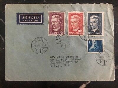 Fettiges Essen Zu Verdauen Zielstrebig 1949 Pecs Ungarn Abdeckung To New York Usa Sándor Petőfi Centenary Briefmarken Um Zu Helfen Briefmarken