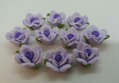 Rose Noir 25 x 11-12mm Handmade Polymer Clay Fimo floral green flower Beads