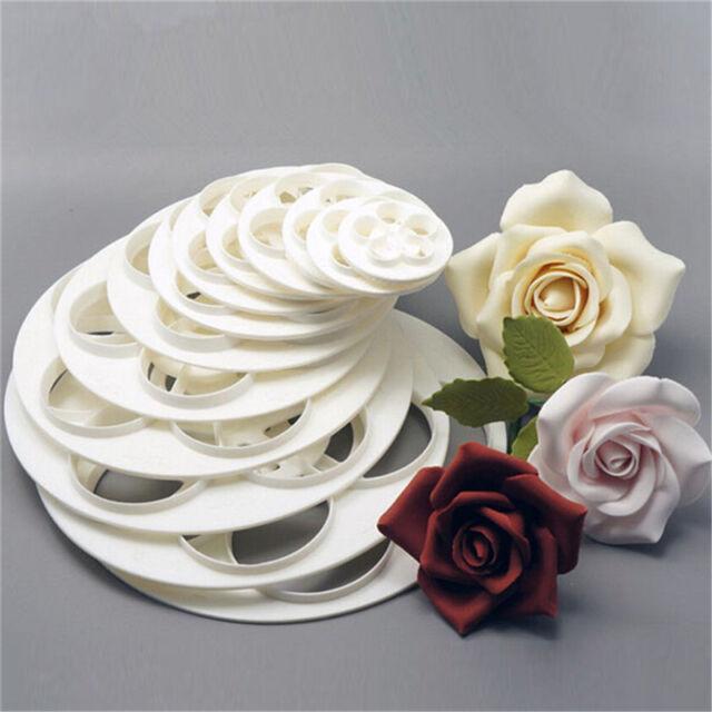 6xfondant Cake Sugar Decor Cookie Rose Flower Mold Gum Paste Cutters ...