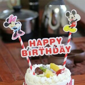 Brilliant Mickey Mouse Minnie Birthday Cake Toppers Decorating Cup Cake Personalised Birthday Cards Epsylily Jamesorg